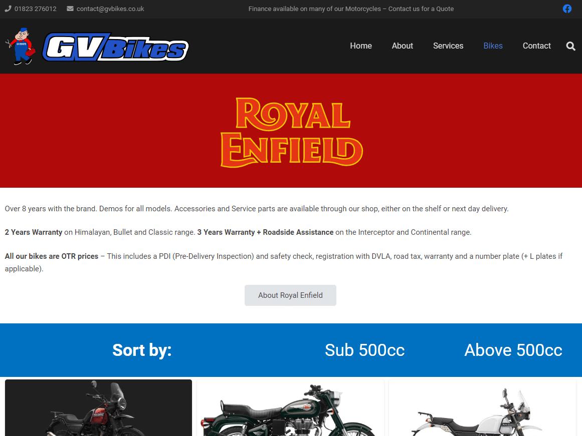 GV Bikes RE Page
