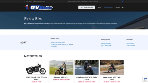 'Find a Bike' - Entire Catalogue