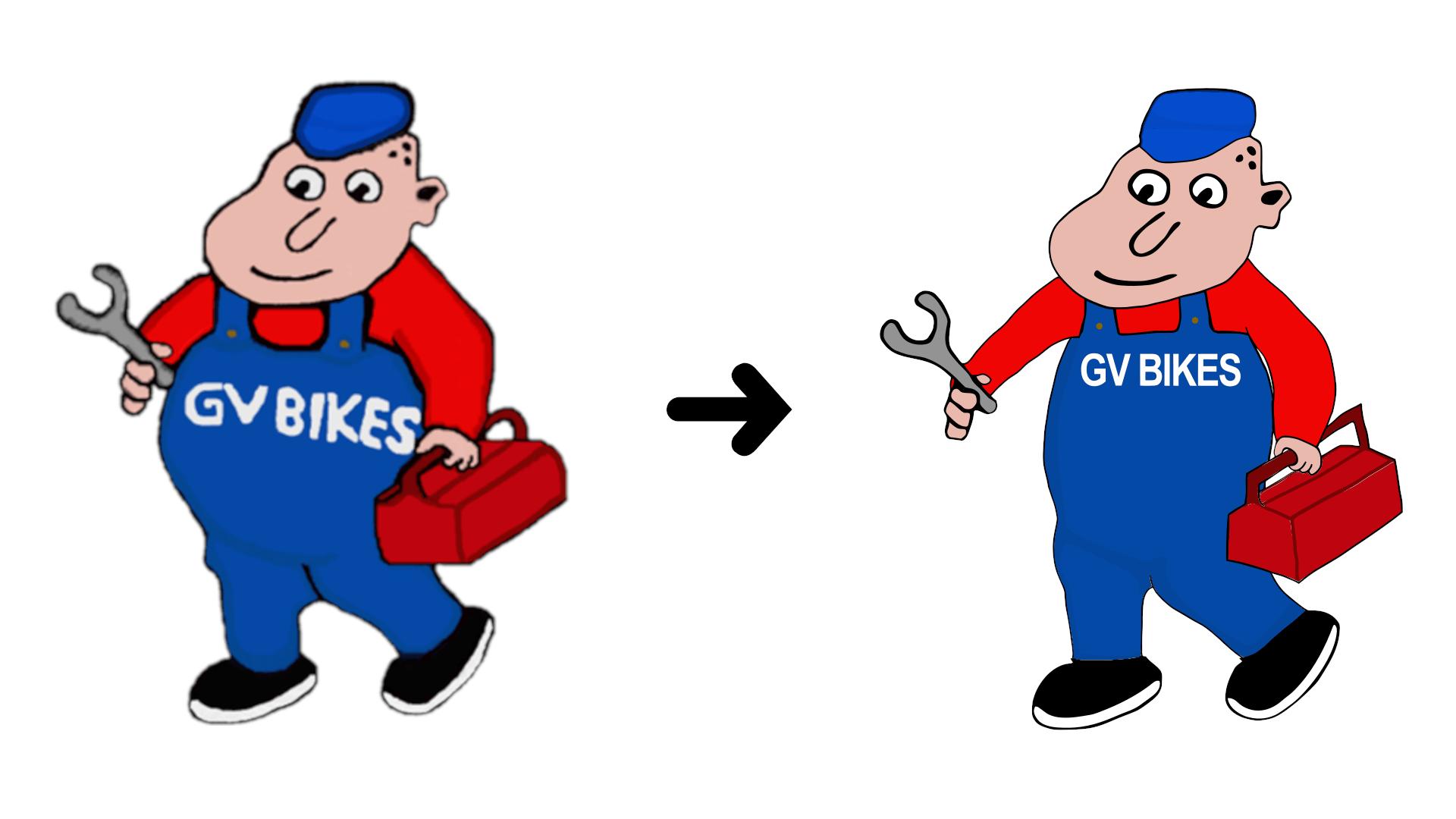 GV Bikes Man Logo Enhancement