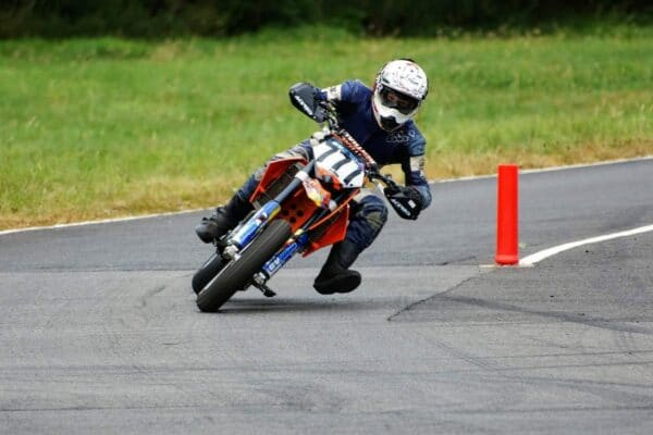George riding a KTM SMR 613 at Curborough Sprint Circuit in 2018