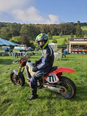 George riding his Honda CR500 at Wiscombe Park Hill Climb in Devon